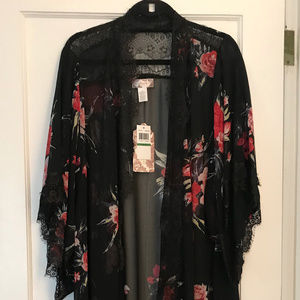 Band of Gypsies Floral Lace Trimmed Robe NWT